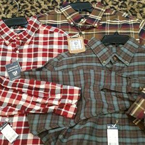 Lot 3 Cremieux Flannel Plaid Shirts NEW